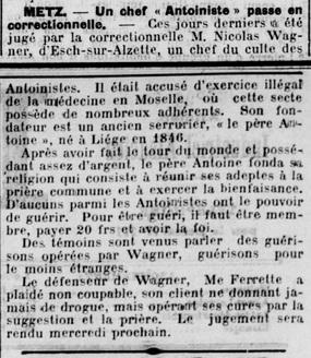 Un chef antoiniste passe en correctionnel - Wagner (L'Express de Mulhouse, 27 juin 1927)