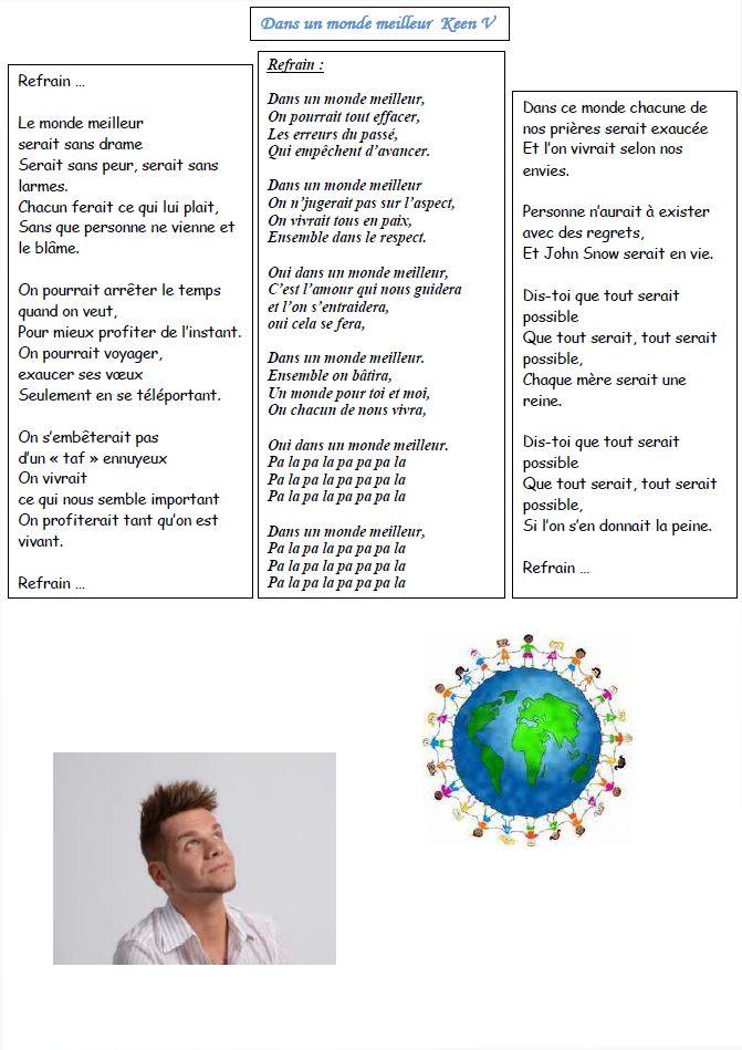 parole chanson un monde meilleur