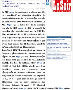 2007 Le MCA Dames HandBall Champion d'Algérie