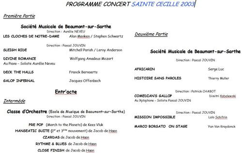 Programme Concert Sainte Cécile 2003