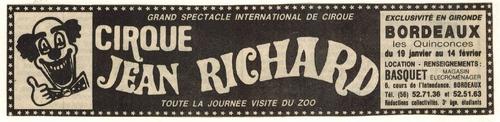 archives presse ( Sud Ouest) Bordeaux 1982 , cirque Jean Richard ( 2ième partie)