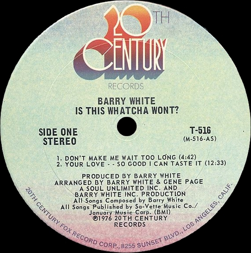 "Barry White : Album "" Is This Whatcha Wont "" 20Th Century Records T-516 [ US ]"