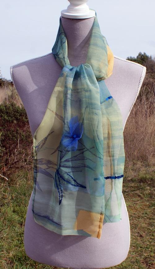 Echarpe organza bleu-vert à fleur tulle bleue