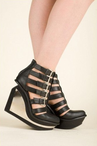 jeffrey campbell black clinic wedges side metal plate