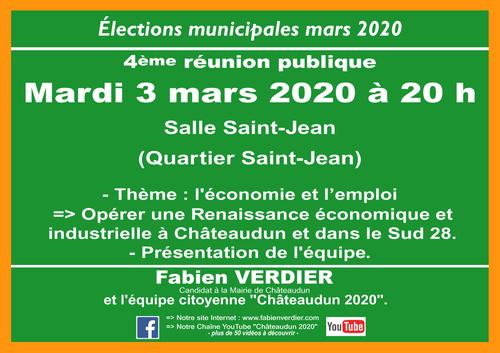 """Présentation de l'équipe """"Châteaudun 2020"""" - Mardi 3 mars 2020 à 20h (salle Saint-Jean)"""