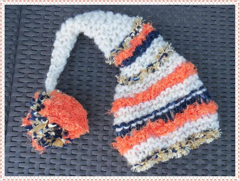 Bonnet de lutin Shine whool orange, écru et marine