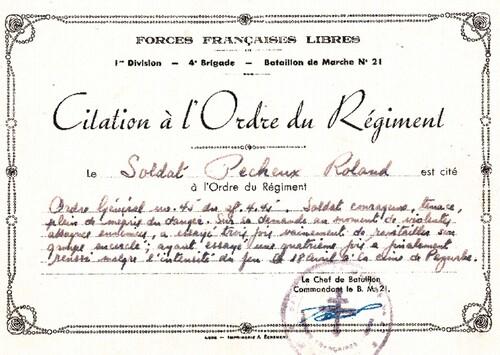 * Trésors d'Archives - Documents militaires du soldat Roland Pecheux (B.M.21)