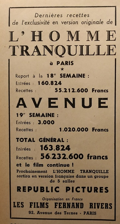 BOX OFFICE PARIS DU 6 MARS 1953 AU 12 MARS 1953