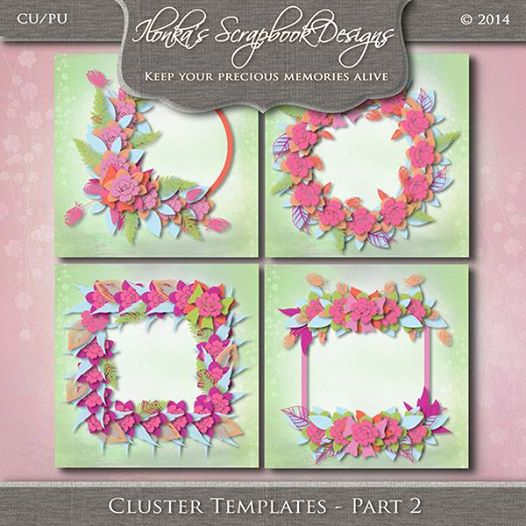 Cluster templates part 2 by Ilonkas Scrapbook Designs