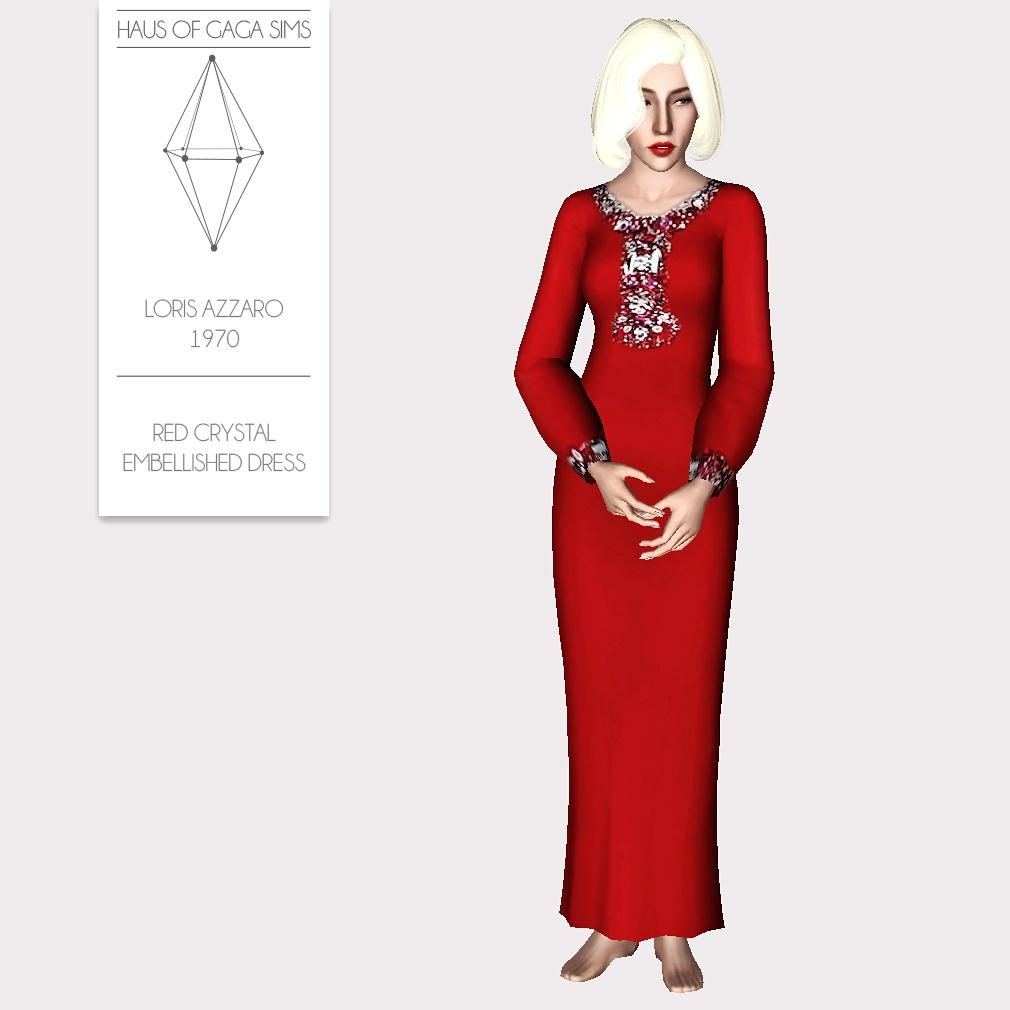 LORIS AZZARO 1970 RED CRYSTAL EMBELLISHED DRESS