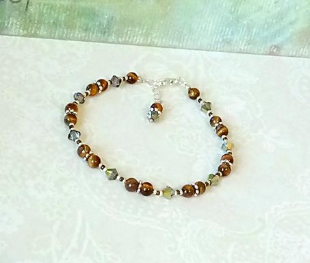 Bracelet pierre Oeil du Tigre 4mm et cristal de Swarovski / Plaqué argent