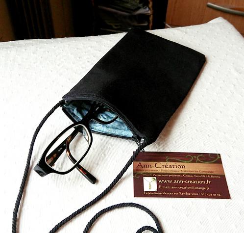 Etui molletonné téléphone, lunettes, maquillage, 18,5 x 10 cm, avec cordon, tissus japonais et anglais bleu / blanc / argent,  motif oiseau / fermeture éclair