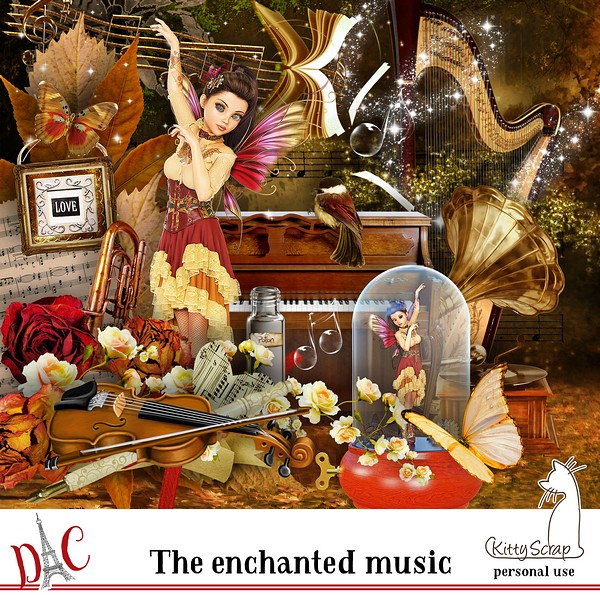 mini kit the enchanted music de kittyscrap