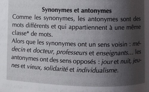 Les antonymes