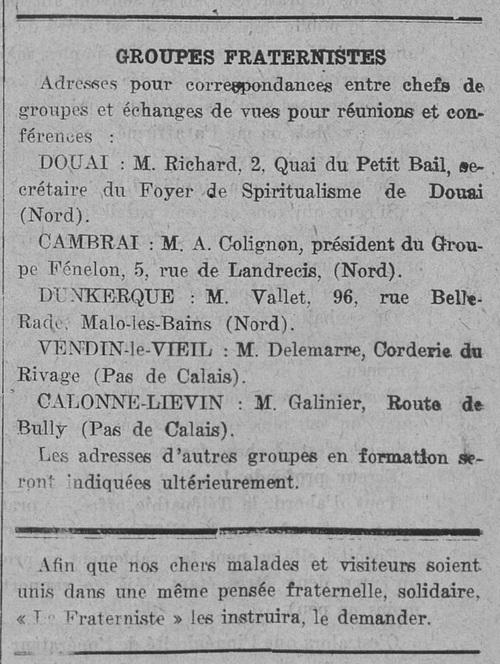 Groupes fraternistes (Le Fraterniste, 15 mai 1925)