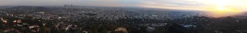 Couché de soleil sur LA depuis l'observatoire