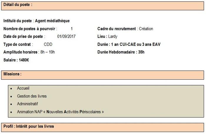Offre d'emploi en CUI - CAE ou EAV : Agent médiathèque