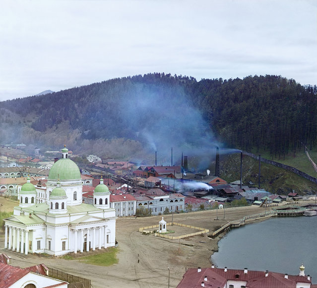 Photos by Sergey Prokudin-Gorsky. General view of the Zlatoust plant and Trinity Cathedral. Russia, Ufa Province, Zlatoust uyezd (district), Zlatoust town, September 1909