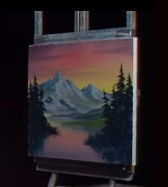 Dessin et peinture - vidéo 1885 : La montagne grise au crépuscule - tuto peinture acrylique ou huile.