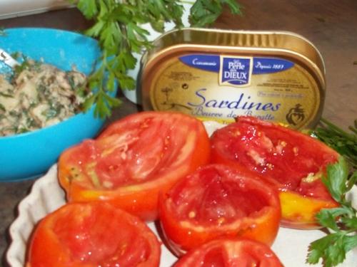 Tomates farcies à la Sardine au beure de baratte et pommes de terre de Noiremoutier- Partenariat Perles des Dieux