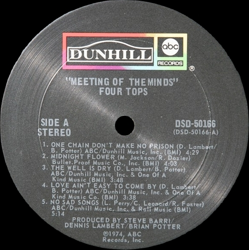 "The Four Tops : Album "" Meeting Of The Minds "" ABC Dunhill Records DSD-50166 [ US ]"