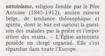 Antoinisme (M.M. Thiollier, Dictionnaire des religions, 1971)
