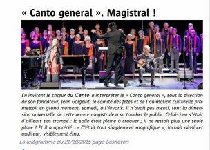 Concert Canto General à Lesneven le 17 octobre 2015