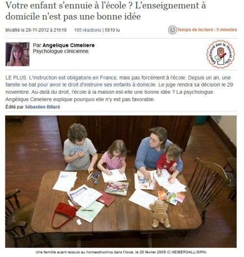 Article sur l'école à la maison : une psy totalement à côté de la plaque, un ramassis d'inepties