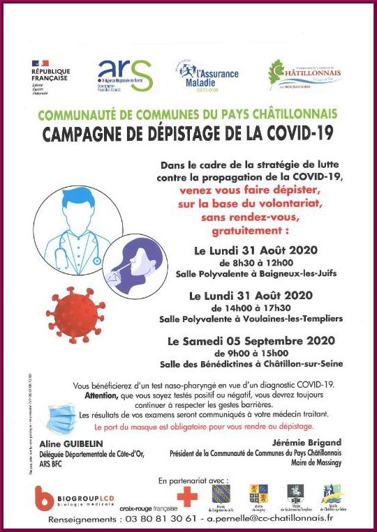 Dépistage du COVID 19 dans le Châtillonnais
