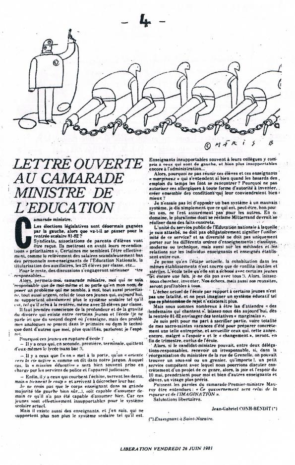 Lettre ouverte du Lycée Expérimental de Saint-Nazaire 30 ans après