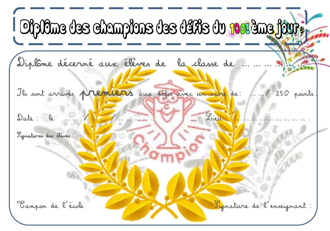 Connu Défis du 100ème jour d'école - la Fouine en clis FS68