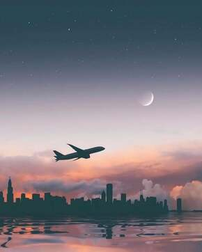 Image de sky, airplane, and moon