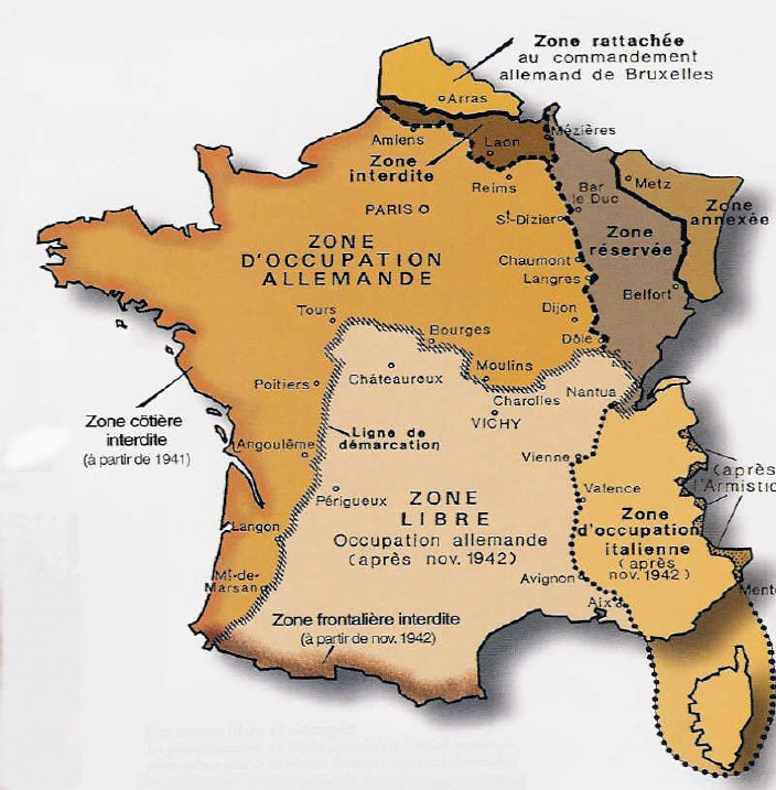 carte de la France sous l'occupation