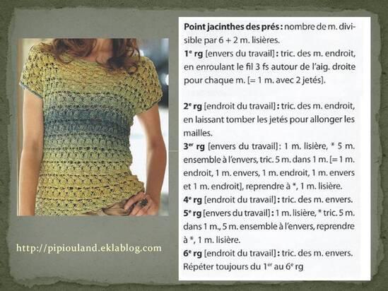 """Le point """"Jacinthe des près"""" tricot..."""