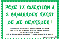 Demande à 3 camarades avant moi, question, gestion comportement, cycle 2, cycle 3