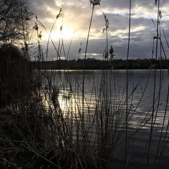 Peut être une image de nature, ciel, crépuscule et lac