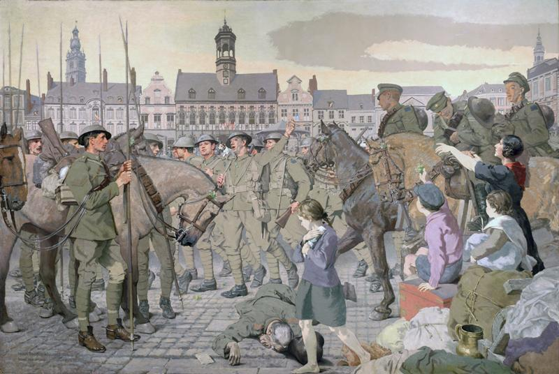 armistice,Peinture par Inglis Harry Jodrel Sheldon-Williams, armée canadienne, 14 18,Le retour à Mons  ,Collection d'art militaire Beaverbrook,The Return to Mons