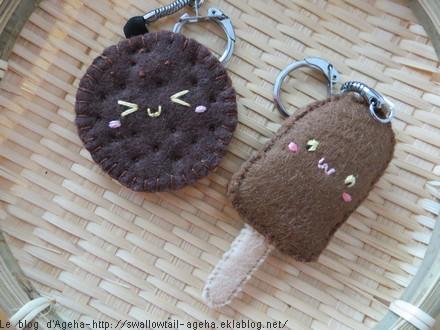 Biscuit et esquimau au chocolat en feutrine
