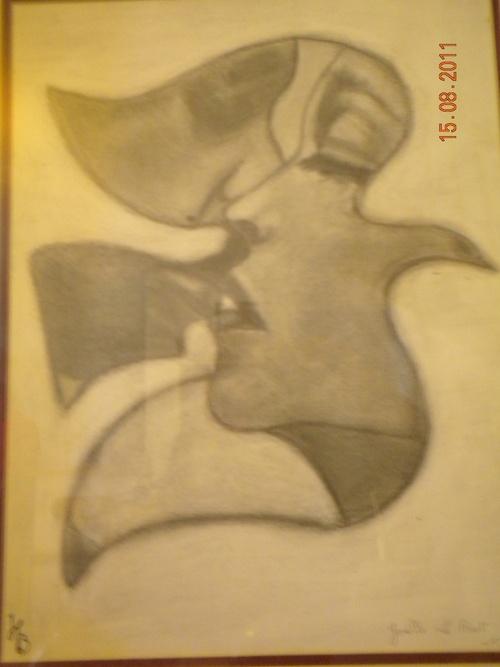 les amoureux -crayon graphite gras et fusain -joelle