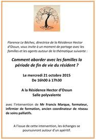 21.10.15 - Conférence à la Résidence Hector d'Ossun