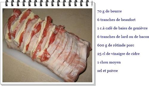 Rôti de porc au lard , au Beaufort et chou braisé