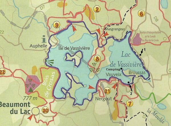 Le lac de Vassivière : plan des sentiers de randonnée (extrait)