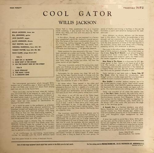 "Willis Jackson : Album "" Cool ''Gator'' "" Prestige Records PRLP 7172 [ US ]"