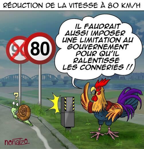 REDUCTION DE LA VITESSE A 80 KMS/HEURES...