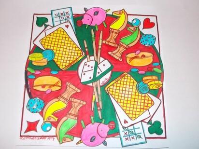dessin aux feutres mandala jeux d'enfance