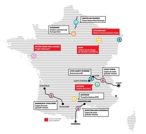 --- Source : liberation.fr - Carte de France des ZAD - image/photo pouvant être protégée par Copyright ou autre ---