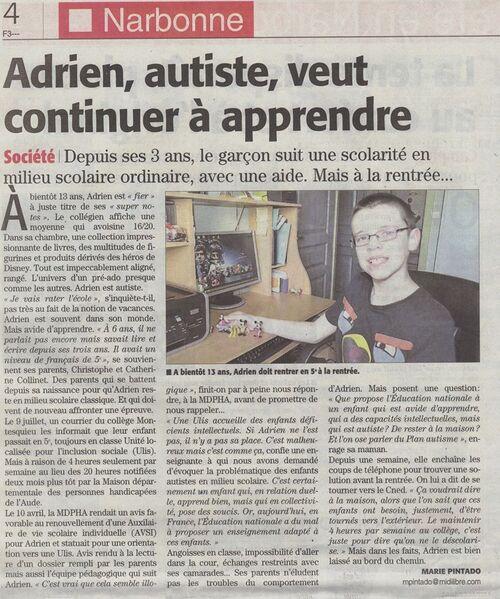 Adrien autiste, veut continuer à apprendre