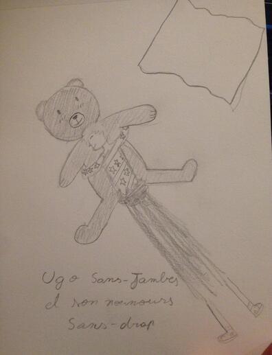 Ugo sans-jambe et son nounours Sans-draps