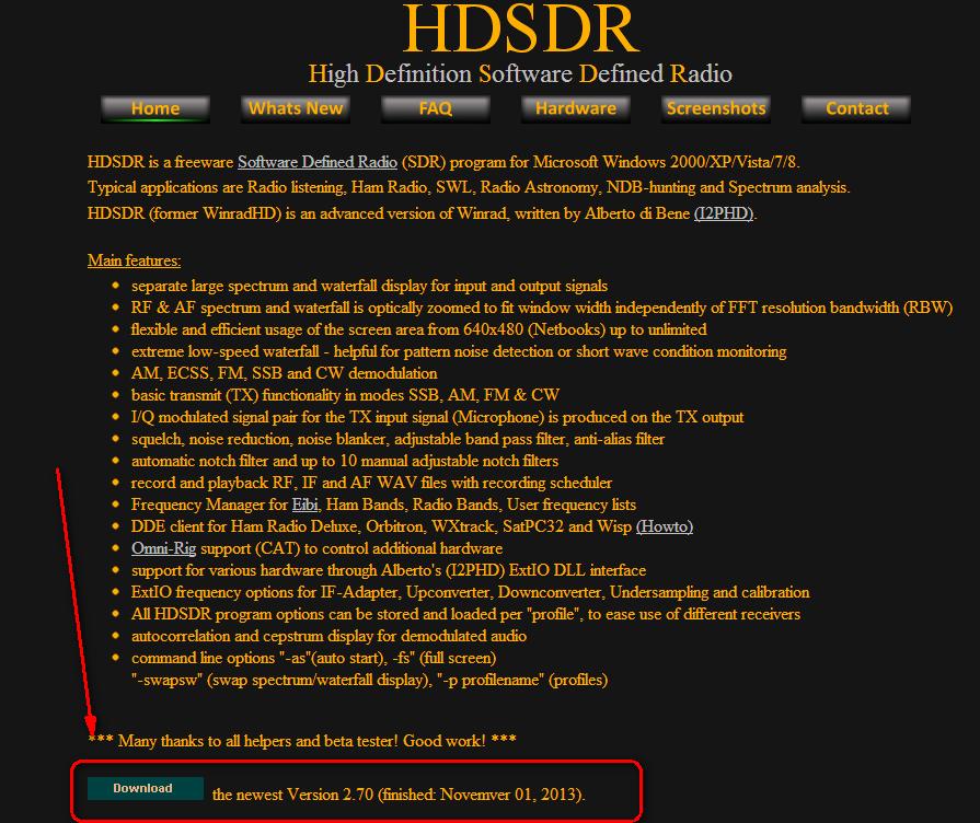 la page de HDSDR