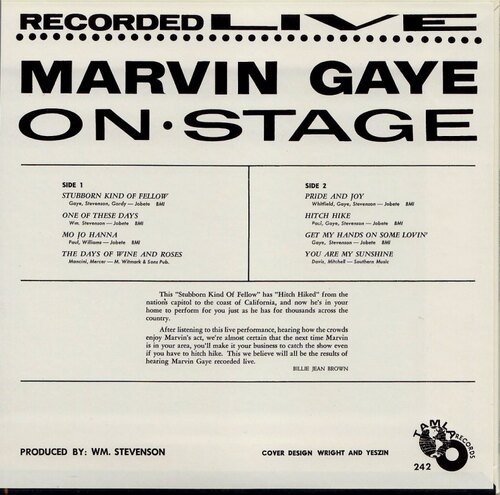 "Marvin Gaye : Album "" Recorded Live On Stage "" Tamla Records TM 242 [ US ]"